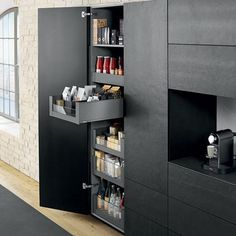 Legrabox space tower - Blum larder drawer system consists of 5 complete inner deep drawers offering a high level of stability to tall kitchen cabinets Kitchen Tall Units, Tall Kitchen Cabinets, Kitchen Larder, Kitchen Cabinet Styles, Kitchen Cabinet Doors, Kitchen Shelves, Kitchen Cupboards, Kitchen Storage, Kitchen Interior