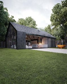Modern barn house makes the perfect summer vacation in Kiev - houses - . Modern barn house makes the perfect summer vacation in Kiev - houses - The barn propert. Contemporary Barn, Modern Barn, Modern Farmhouse, Contemporary Furniture, Farmhouse Design, Farmhouse Style, Modern Cabins, Rustic Modern, Residential Architecture