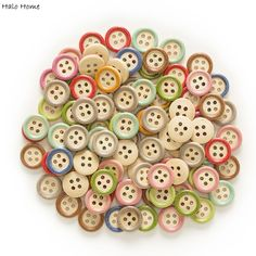 """Sewing Free UK P/&P 1 1//8/"""" 10 Wooden Buttons Round Poppy Fields design 30mm"""