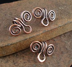 Solid Copper Bails, Handmade Bail, Made to Order, Copper Swirl Bail, For Necklace Pendants, Fits 3mm Cord, Oxidized Bails - 3 Pieces