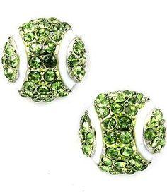Tennis Ball Earrings Green Crystal White Rhodium Pierced Posts Sports Cute New