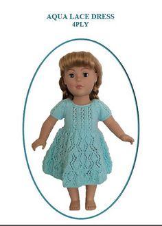 "Ravelry: Aqua Lace Dress for 18"" American Girl Dolls pattern by UNA HENDRY"