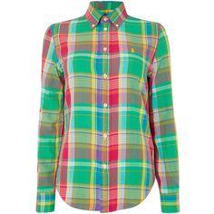 faaa0e73e Polo Ralph Lauren Georgia long sleeve check shirt ($120) ❤ liked on  Polyvore featuring tops, green, women, checked shirt, long sleeve shirts, long  sleeve ...