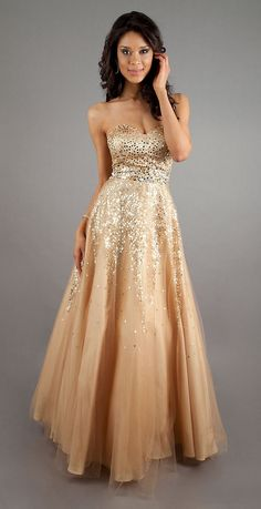 Strapless Sequin Gold Ball Gown A Line Long Sweetheart Princess $214.99