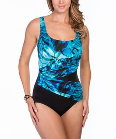 Loving this Blue Jungle Shadow Shirred Layered One-Piece - Plus Too on #zulily! #zulilyfinds