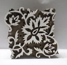 INDIAN WOODEN HAND CARVED TEXTILE PRINTING FABRIC BLOCK STAMP BOLD DESIGN PRINT