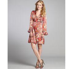 Nanette Lepore beaujolais silk 'Cedarwood' sheath dress, long sleeves, above the knee, drapey