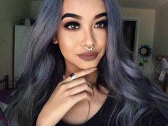 Fall hair looks Beauty Makeup, Hair Makeup, Hair Beauty, Flawless Makeup, Winter Hairstyles, Cool Hairstyles, Purple Grey Hair, Gray Hair, Dye My Hair