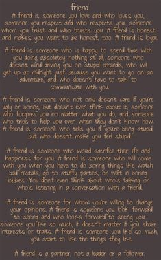Definition of a friend..
