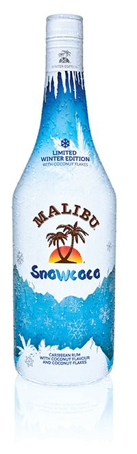 Malibu Snowcoco - a Limited Edition Malibu rum with snowy coconut flakes suspended inside. Malibu Rum, Fancy Drinks, Adult Fun, Marketing Data, Whisky, Vodka Bottle, Beverages, Alcohol, Product Launch