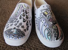 Fun Doodle Shoes by EmsKicks on Etsy, $55.00...ORRRRR pick up a cheap pair of slip ons and design them yourself