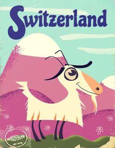 Switzerland Vintage Style Travel Poster By Nick's Emporium
