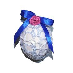 Easter Egg Crochet Cover Set of 4 Handmade Easter Decoration With Satin Ribbon Easter Eggs, Ribbon, Satin, Decoration, Crochet, Cover, Handmade, Ebay, Tape