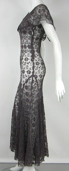 1930s Mesh Flutter Dress | From a collection of rare vintage evening dresses at http://www.1stdibs.com/fashion/clothing/evening-dresses/