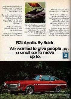 See the 1974 Buicks, including the old Apollo, Century, Electra, LeSabre & Riviera cars - Click Americana Vintage Advertisements, Vintage Ads, Buick Apollo, Automobile, Buick Cars, Chrysler New Yorker, Lifted Ford Trucks, Car Advertising, Us Cars