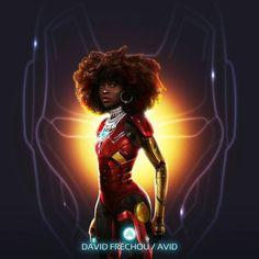 Nneka E. Ibeabuchi X Riri Williams X The New Ironman  #NnekaEIbeabuchi #RiriWilliams #Ironman #Marvel #StanLee #Queen #crown #armor #redandyellow #redandgold #warrior #jewel #afro #iron #graphicdesignerlife #avidgraphiste #ebony #curly #roots #créole