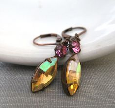 Rhinestone Earrings Jonquil AB Rose Pink Navette by fiveforty, $18.00