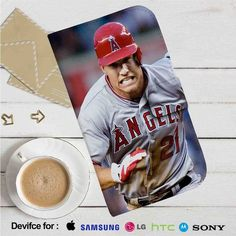 Mike Trout Los Angeles Angels Baseball Run Leather Wallet iPhone 4/4S 5S/C 6/6S…
