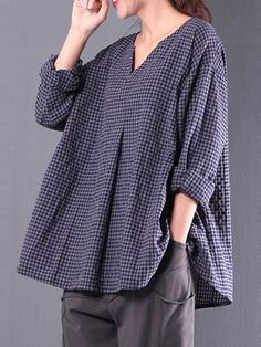 Women's Clothing,Top,Casual Cotton Sleeve Gingham Linen Blouse,Popjulia-W Blusas Oversized, Outfit Chic, Mode Boho, Linen Blouse, Linen Shirts, Loose Shirts, Blouse Vintage, Blouse Online, Plus Size Blouses