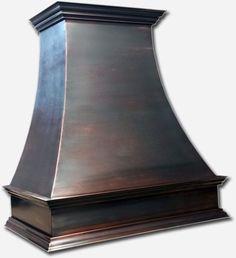 Black patina custom made copper hood vent