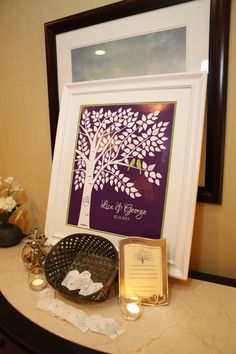 Purple and green wedding GuestBook Signature Tree Personalized Wedding Print  16x20150 by karimachal, $32.00