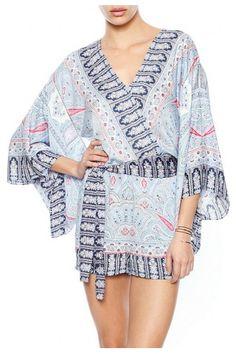 BCBGMAXAZRIA  Kym Printed Kimono Jumper in Shadow Blue Combo