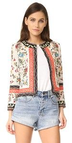 alice + olivia | SHOPBOP Intricate patterns and vivid colors accent this vintage-inspired alice + olivia jacket. Hook-and-eye placket. 3/4 sleeves. Lined.  Fabric: Embroidered weave. Shell: 100% linen. Lining: 96% polyester/4% elastane. Dry clean. Imported, India.