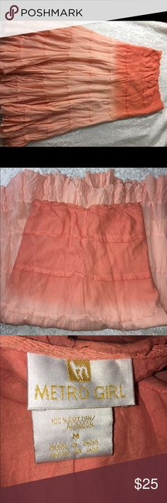 Gorgeous Bohemian style skirt size M Bohemian style coral color (hombre) long skirt, 100% Cotton, Made in India. New without tags. Metro Girl Skirts