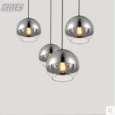 Simple and Modern Space Glass Plating Ball Pendant Light Living Room Restaurant Cafe Pendant Lighting
