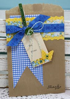 "Giving Gift Cards! Make a brown paper bag ""envelope"" for giving gift cards."