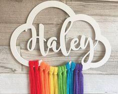 Personalised Rainbow Wooden Cloud, Cloud Wall Hanger, Cloud Wall Mobile, Cloud D… - Modern Cloud Nursery Decor, Pastel Nursery, Clouds Nursery, Pink And Gray Nursery, Pink Grey, Rainbow Nursery Decor, Rainbow Bedroom, Girls Bedroom, Girl Room