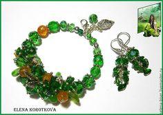 Купить Браслет серьги  турмалин кварц зеленый Лесной подарок - браслет, Браслет ручной работы