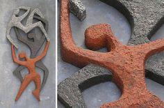 Ceramic dancing figures wall art by Ambacht Haalderen (AMHA), Holland, Netherlands