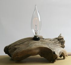 Driftwood Lamp - Carbon Filament Bulb by typewriterboneyard on Etsy