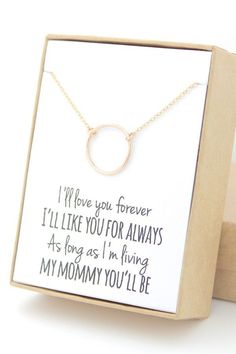 Another childhood classic, Love You Forever, is referenced alongside this dainty infinity circle necklace for your mother @myweddingdotcom