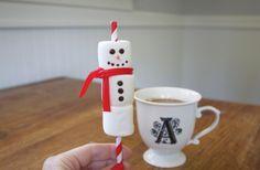 """Cheerful """"snowmen straws"""" for hot chocolate...kids will love"""