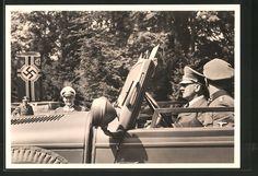 old postcard: AK Compiégne, Führer Adolf Hitler ist angekommen und wird von Generalfeldmarschall Göring erwartet, 1940
