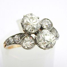 Bague ancienne diamants or platine 575 – Bagues anciennes – Bagues de fiançailles