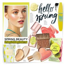 """Highlighter ~ Spring Beauty"" by katrinaalice ❤ liked on Polyvore featuring beauty, See by Chloé, Maybelline, Benefit, Burberry, AERIN, tarte, H&M and Hourglass Cosmetics"