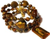 """Rosary bracelet """"Padre Pio love"""" five decade, tigers eye beads, heart shaped Pater beads, gold crucifix and Padre Pio/St. Thérèse medal"""