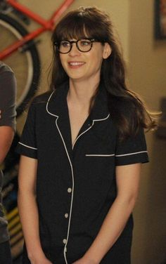 Jess's navy pajamas with white trim on New Girl.  Outfit Details: https://wornontv.net/19769/ #NewGirl