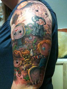 Love this cartoon horror tattoo. Bild Tattoos, Body Art Tattoos, Sleeve Tattoos, Tatoos, Skull Tattoos, Geek Tattoos, Cartoon Tattoos, Funny Tattoos, Creepy Tattoos