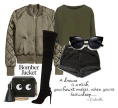 """""""#bomberjackets"""" by ana-anny-blagojevic ❤ liked on Polyvore featuring Levi's, Topshop, Aquazzura, Anya Hindmarch, women's clothing, women, female, woman, misses and juniors"""