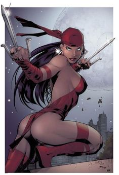 Marvel's Elektra. Looks just like DC with her sais because of the darker toned skin.