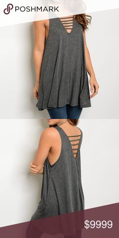 COMING SOON! Gray Ladder Tunic This basic jersey piece with ladder detail is the perfect throw on and go top for a casual look.  Can be paired with a cute lace bralette to add that extra detail to your outfit.  Fabric Content: 80% POLYESTER 20% COTTON Tops Tunics