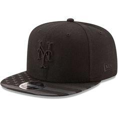 New York Mets New Era Flag Tone Original Fit 9FIFTY Snapback Adjustable Hat  - Black - 64805e38bfa0