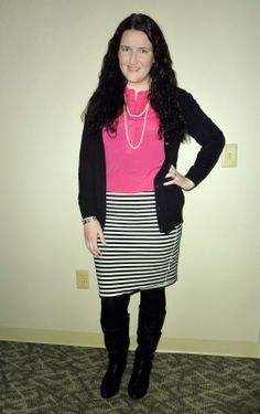 Just Another Smith: #27 - pink popover blouse, black cardigan, pearl necklace, black/white striped pencil skirt, black boots