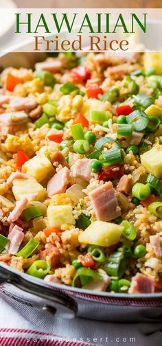 Hawaiian Fried Rice ~ the classic combination of sweet pineapple with salty ham is a winner in this traditional fried rice. Loaded with vegetables, you'll love this easy meal and may just find yourself enjoying leftovers for breakfast! Rice Recipes, Side Dish Recipes, Dinner Recipes, Cooking Recipes, Picnic Recipes, Ham Recipes, Asian Recipes, Cooking Tips, Hawaiian Fried Rice