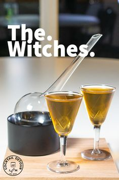An interesting mix of akvavit and green Chartreuse is what The Witches cocktail is made with. Alcoholic Drinks, Cocktails, White Wine, Witch, Glass, Craft Cocktails, Drinkware, Corning Glass, Liquor Drinks