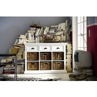 Sideboard HALIFAX weiss Vintage. 3 Schubladen, 6 Fächer inkl. Körbe.